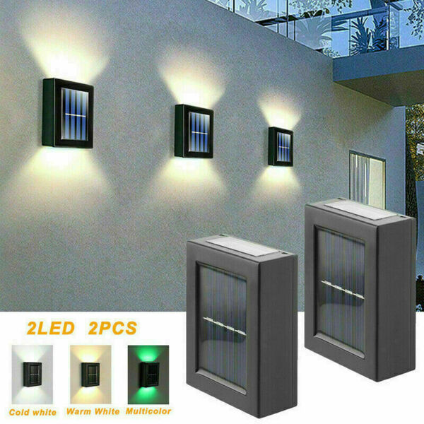 Outdoor Solar 2 LED Deck Lights Path Garden Patio Pathway Stairs Step Fence Lamp $16.89