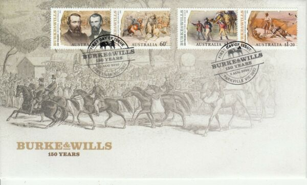 2010 Burke amp; Wills set of 4 stamps stamps on First Day Cover. Cost $3.90. Cheap AU $1.99