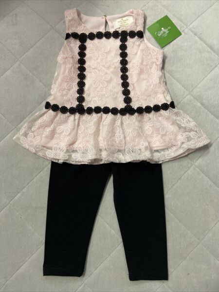 New Kate Spade Pink Black 18M Baby Girls Two Piece Outfit