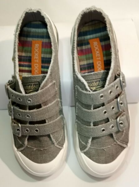 Rocket Dog Gray Canvas Sneakers Tennis Shoes 3 Strap Buckles Raw Edge 7.5 $36.95