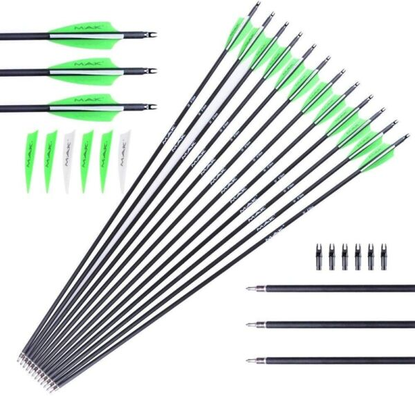 12Pack 30 inch Carbon Arrows Spine 600 Removable Tips For Compound Bow Hunting $31.69