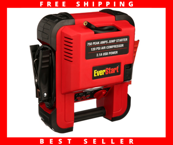Auto Battery Jump Starter Air Compressor 750 Peak Amps Portable Car SUV Charger $46.75