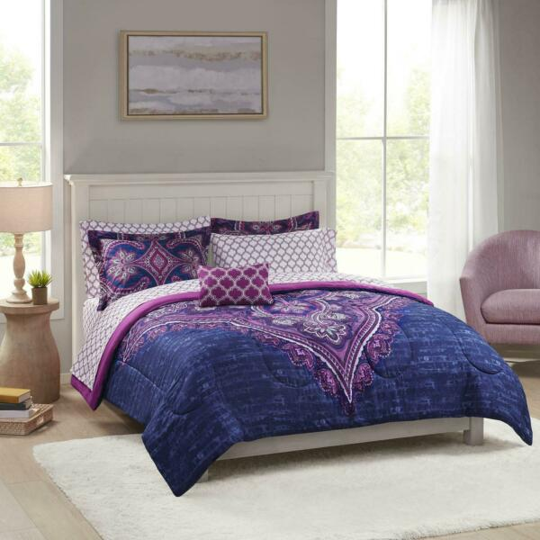 Grace Medallion Purple Bed In A Bag Complete Polyester Bedding Set King Size $56.35