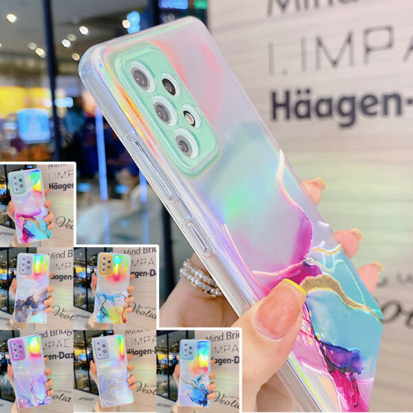 For Samsung Galaxy A12 A32 A52 S21 Ultra Lens Protective Phone Case Marble Cover
