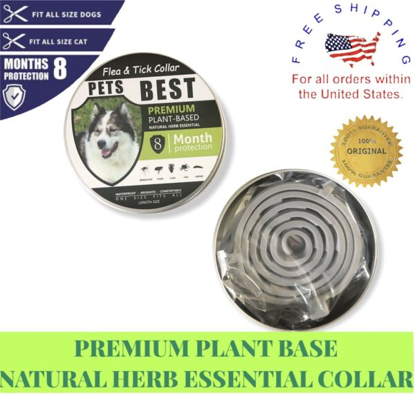 DOG CAT FLEA TICK CONTROL COLLAR PLANT BASED ALL NATURAL ONE SIZE FITS ALL $7.99