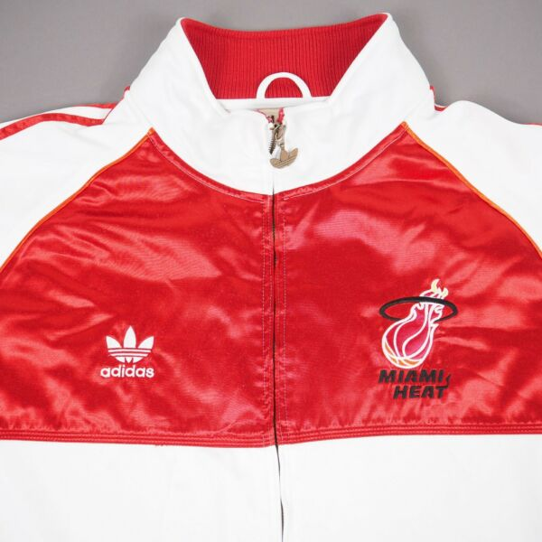 Vintage Adidas 2008 Miami Heat 20 Years Red White Warm Up Track Jacket Size 3XLT $69.95