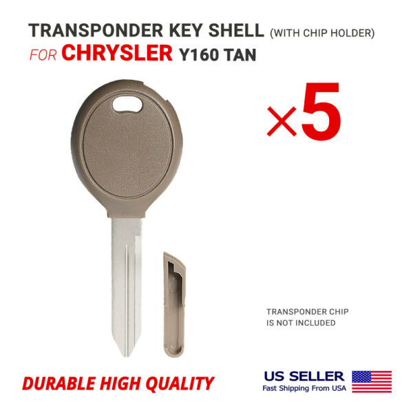 5x Key Shell Case Blade Y160 TAN for Chrysler with Chip Holder
