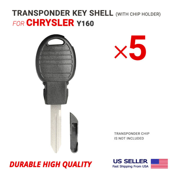 5x Key Shell Case Blade Y160 for Chrysler Shell Design with Chip Holder