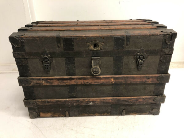 Vintage WOOD STEAMER TRUNK chest coffee table storage box luggage antique decor $149.99
