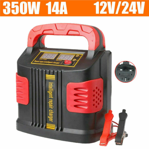 350W Heavy Duty Smart Car Battery Charger Pulse Repair 12V 24V 3 Stage Charging $35.99