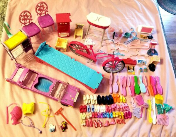 Mixed lot of Vintage amp; Modern BARBIE accessories including car amp; bike. Lot #3 $19.80
