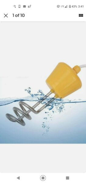 CalPalmy Yellow Immersion Water Heater Floating Electric Water Heater 110 120V $25.00