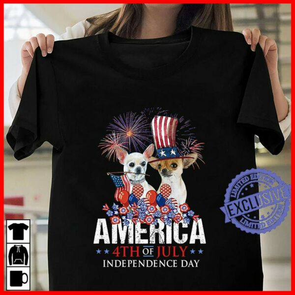 Dog America 4th of july independence Day T shirt S 3XL $10.99