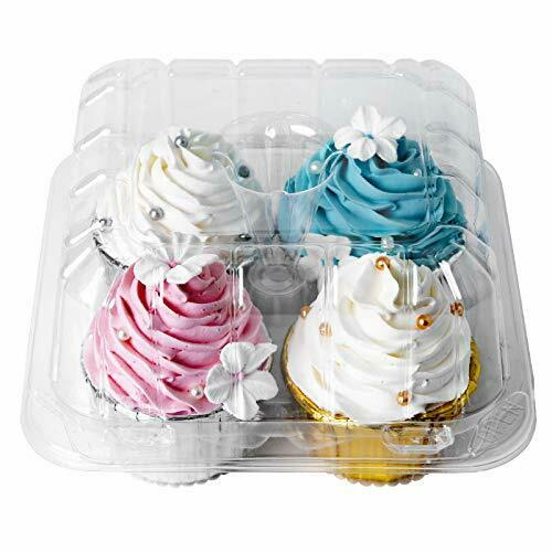 Clear Cupcake Boxes 4 Cavity HolderONE MORE Large 4 Compartment Muffin Contai...