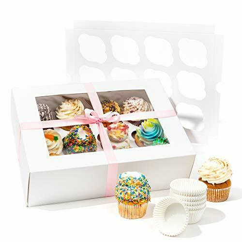 Smirly White Cupcake Boxes 12 Count Disposable Cupcake Containers 12 Count Cu...