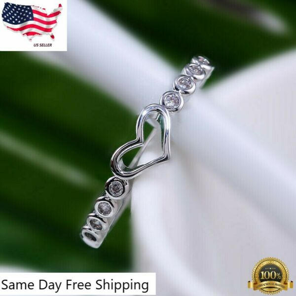 Gift for Sweetheart 925 Silver Rings for Women Heart White Sapphire Size 6 10
