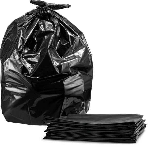 Trash Bags For 55 Gallon 50 Case w Ties Large Black Garbage Bags $19.20