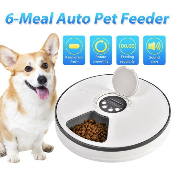 Automatic 6 Meal Timed Pet Feeder Dog Cat Food Bowl Dispenser Auto Music Wake Up $37.45