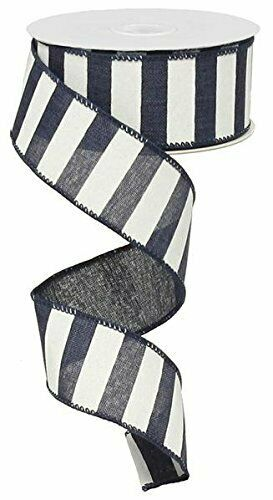Navy Blue White Striped Fabric Burlap Wired Ribbon 1.5 Inches x 10 Yards RX9...