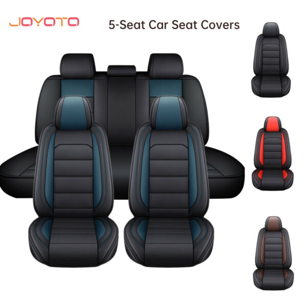 Car Seat Covers 5 Seats Pu Leather Cushion Protector Full Cover Universal Fit $63.64