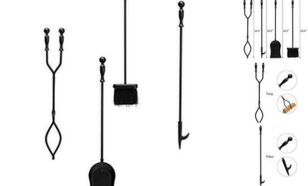 4 Pieces Fireplace Tools Sets with Handles Wrought Iron Fire Tool Set for