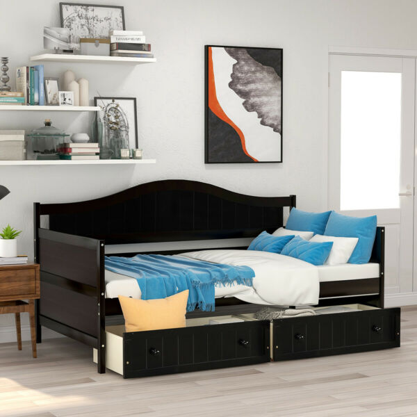 Wooden Daybed Bed Frame with 2 Storage Drawers Sofa Bed Platform Twin Size Bed $221.61