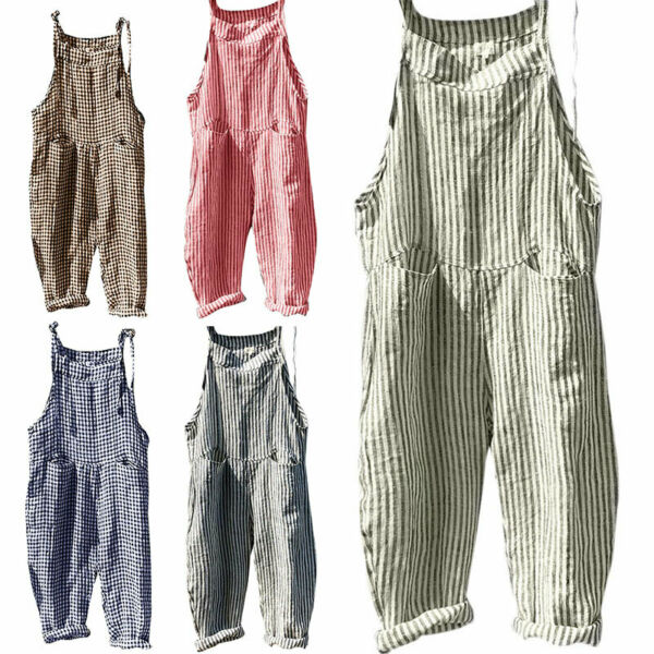 Womens Ladies Dungarees Overalls Summer Baggy Casual Oversized Tank Jumpsuit US