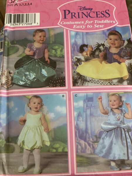 Simplicity Disney Princess Pattern #5402 Costumes For Toddlers Sz 1 2 4 $5.50