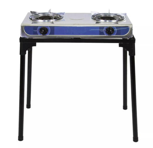 Stainless Steel Double Propane LP Burner Stove W Cast Iron Stand Outdoor Cooking
