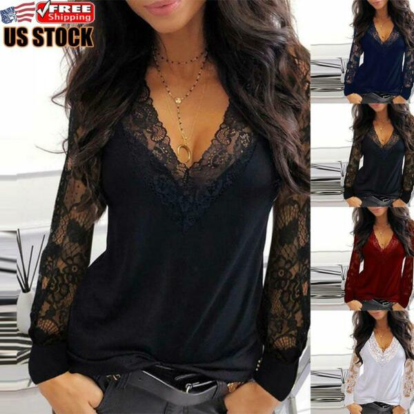 US Sexy Women#x27;s Lace Long Sleeve Baggy Tops Ladies Causal V Neck T shirt Blouse
