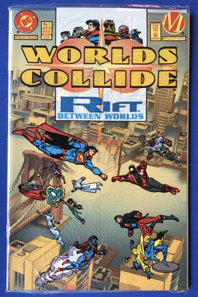 WORLDS COLLIDE #1 1994 DC Milestone; POLYBAGGED amp; SEALED w Vinyl Clings; NM