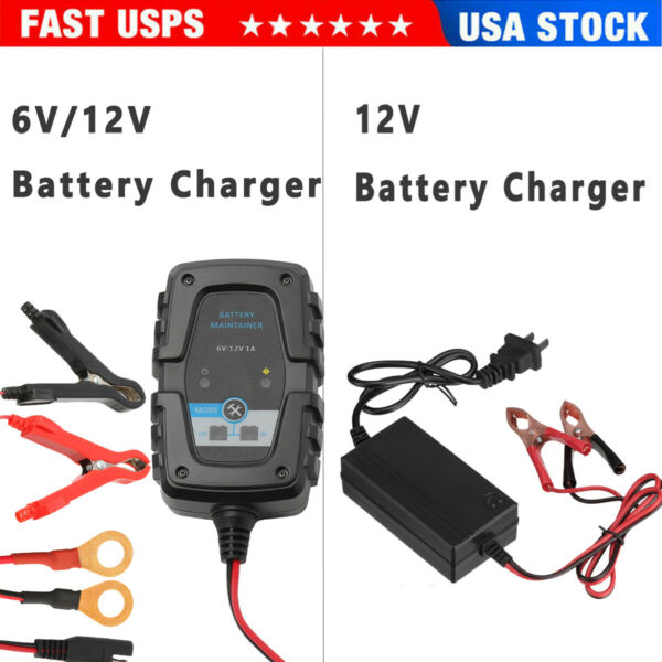 12V 6V Auto Battery Charger Motorcycle Trickle Float For Tender Maintainer Car $16.89