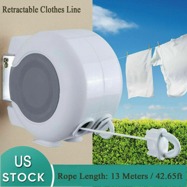 Clothes Line Retractable Wall Mounted Double Washing Clothes Drying Line Tool $27.29