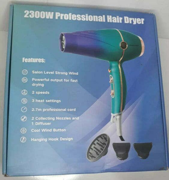 Hiveseen 2300W Professional Salon Hair Dryer with 3 Heat amp; 2 Speed Settings. $39.99