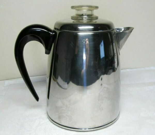 Vintage Farberware 12 Cup Stove Top Percolator Coffee Pot Stainless Steel
