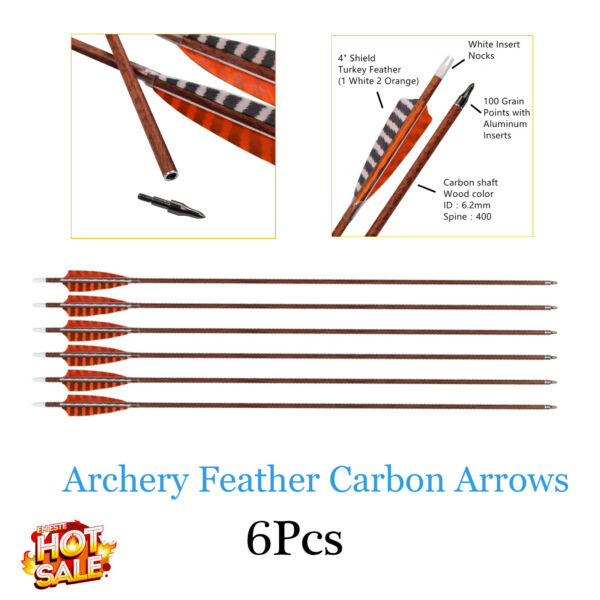 Archery Arrows Hunting Carbon Shafts 4quot; Feather Vanes for Compound Recurve Bows $34.19
