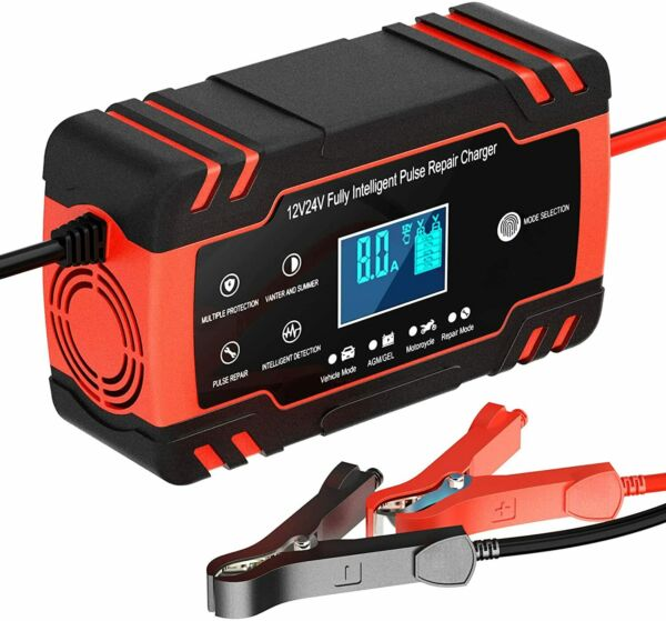 Smart Automatic Car Battery Charger 12 24V 8A Touch Screen Pulse Repair AGM GEL $23.99