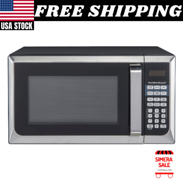 Hamilton Beach 900W 0.9 Cu. Ft. Counter Top Microwave Oven Stainless Steel NEW
