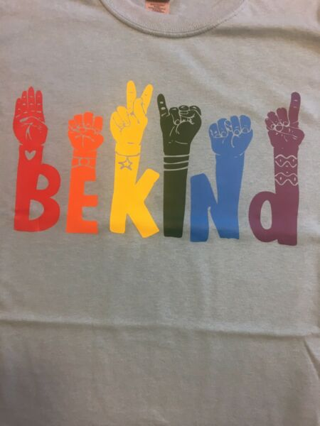 T Shirt rainbow be kind sign language on top of letters.. $15.00