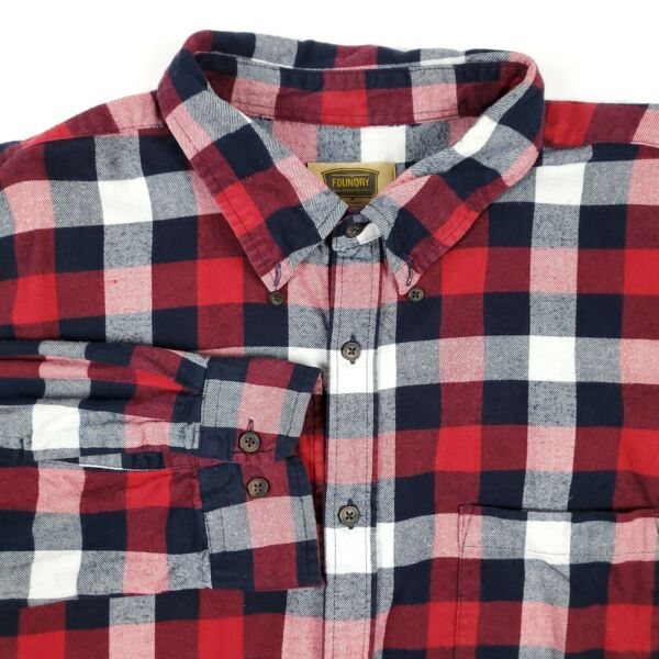 Foundry Red Blue Check Mens Long Sleeve Button Up Plaid Shirt Size 2XLT 2XL Tall