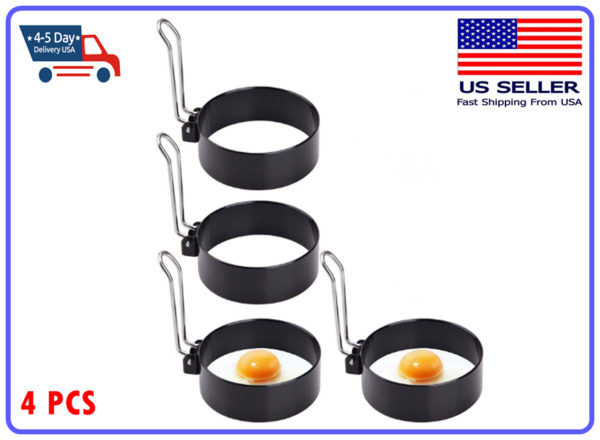 4 Pcs Non Stick Fried Egg Shaper Stainless Steel Pancake Ring Mold Cooking Tool
