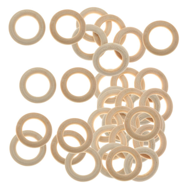 PACK OF 60 NATURAL UNFINISHED WOODEN LOOP RINGS WOOD MATERIAL JEWELEY DIY $8.32