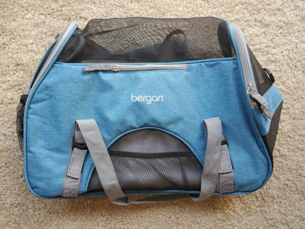 Bergan Dog Cat Pet Airline Comfort Carrier Tote with Fleece Bed Small Blue $23.00
