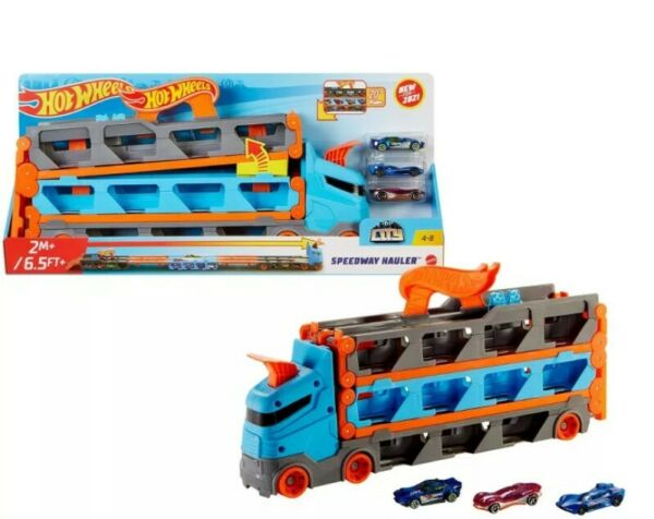 Hot Wheels Speedway Hauler Storage Carrier  3 cars included *New* $48.99