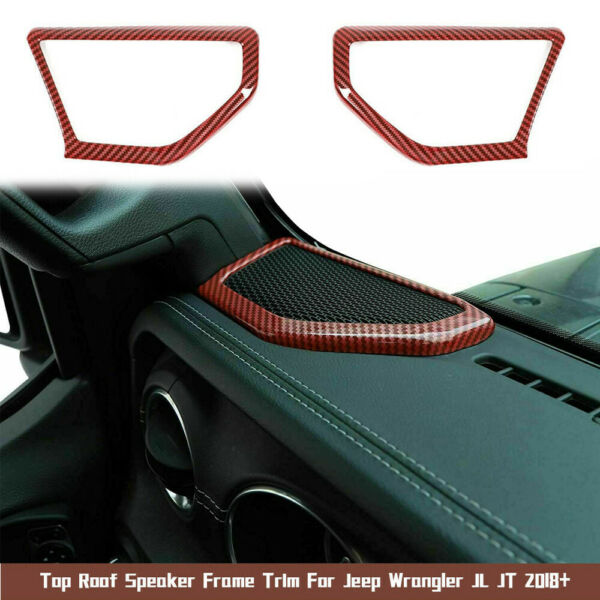 2x Car A Pillar Speaker Cover Trim Ring Red Carbon For Jeep Wrangler JL JT 2018 $29.85