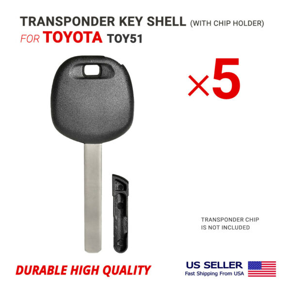 5x Key Shell Case Blade TOY51 for Toyota with Chip Holder