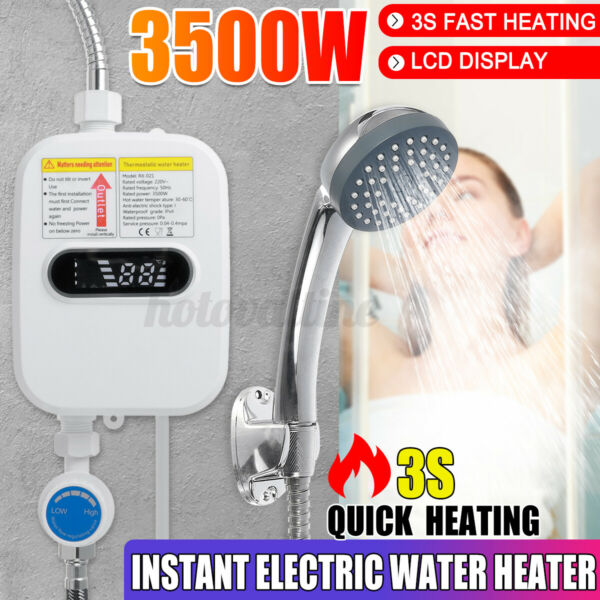 110V 3500W Electric Tankless Instant Hot Water Heater Shower Kitchen Tap Faucet $47.93