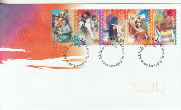 2000 Arts festival set strip of 5 stamps First day cover.Cost $2.55. going cheap AU $1.49