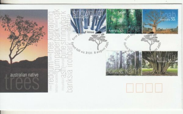 2005 Native Trees set of 5 stamps on First Day Cover. Cost $2.80. Going Cheap AU $1.50