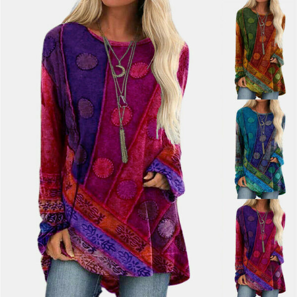 Women Crew Neck Long Sleeve Casual Vintage Print T Shirt Loose Tunic Blouse Tops $15.99